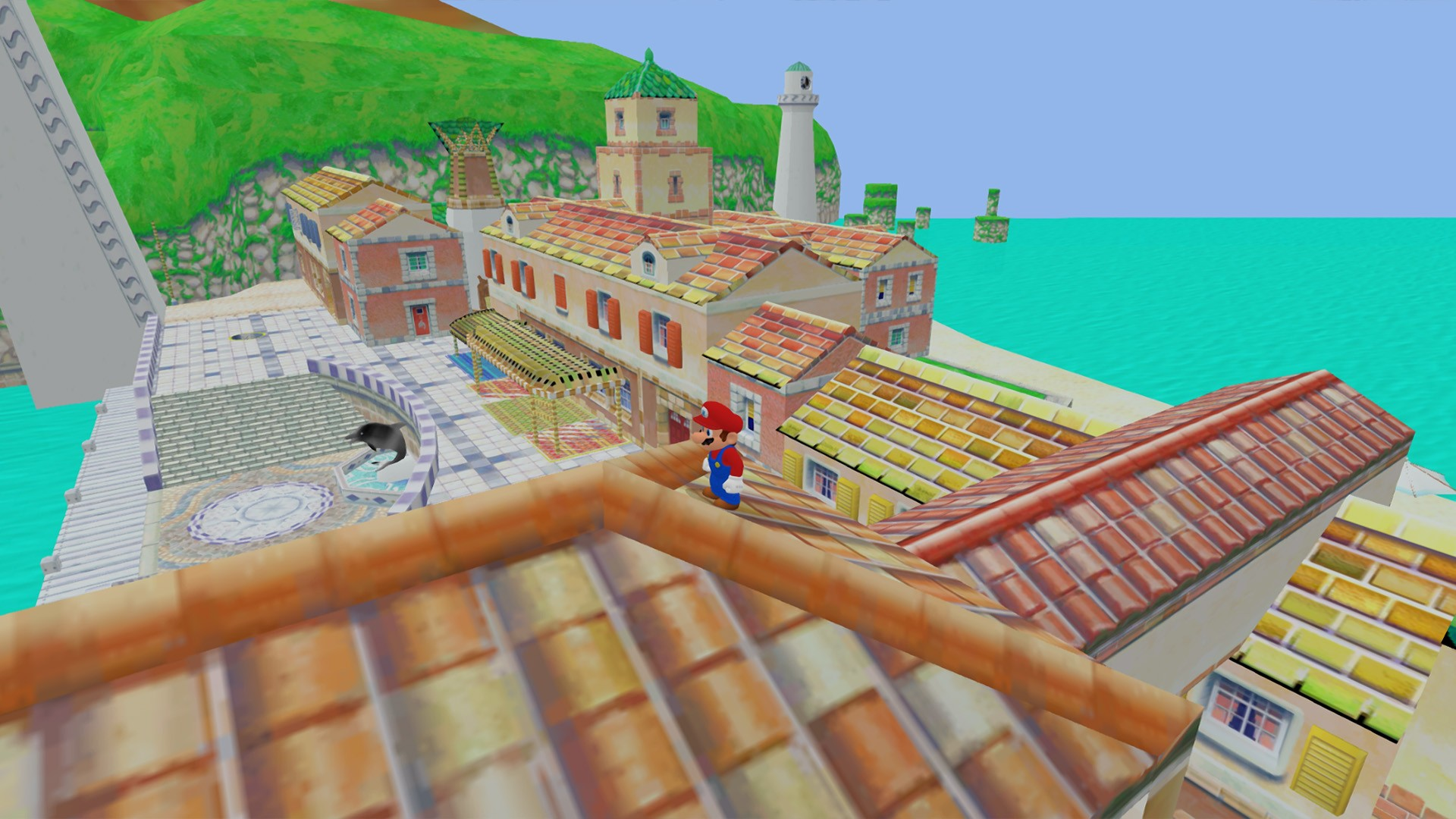 Game screenshot: 3D platforming on rooftops. Hills & terrain with a sewer & docks.